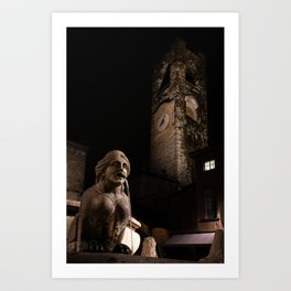 The fountain in Piazza Vecchia, the Sphinx of the Contarini fountain in the background the Civic Tow Art Print