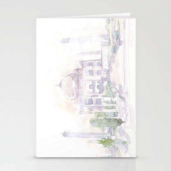 Watercolor landscape illustration_India - Taj Mahal Stationery Cards