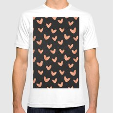 Valentines Day - Rose Gold Hearts on Black Background - Romantic Design MEDIUM Mens Fitted Tee White