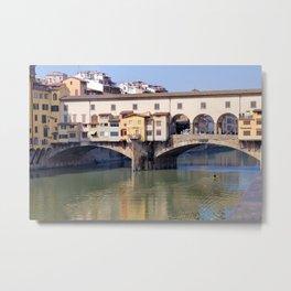 Kayaking Under Ponte Vecchio Metal Print