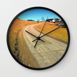Springtime, road and countryside   landscape photography Wall Clock