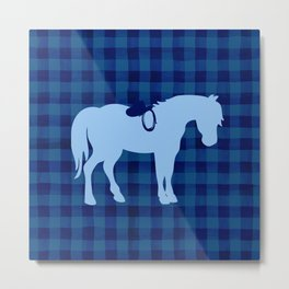 Blue Buffalo Plaid Horse Metal Print