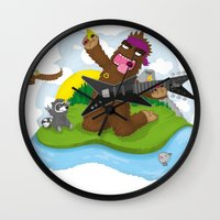 bigfoot Wall Clocks featuring Bigfoot Rocks! by Peteman