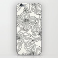 Dogwood Floral Linear: Black Ivory iPhone & iPod Skin