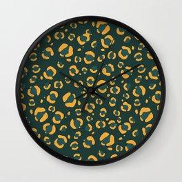 Forest Green Cheetah Print Wall Clock