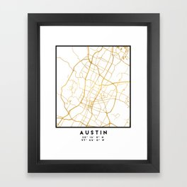 AUSTIN TEXAS CITY STREET MAP ART Framed Art Print