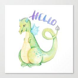 Watercolor Hello Dinosaur Illustration Canvas Print
