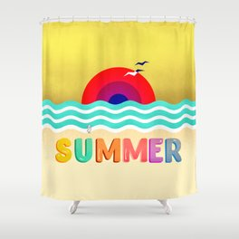 037 HOT SUMMER on the beach Shower Curtain
