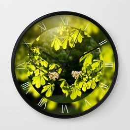 Flowering Aesculus horse chestnut foliage Wall Clock