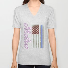 Mother Thin Blue Line Police Officer Family Unisex V-Neck