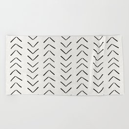 Mud Cloth Big Arrows in Cream Beach Towel