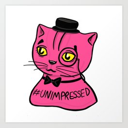 Fancy Chubby Pink Cat, wearing a bow, a monocle and tuxedo Art Print