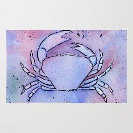 Crab Watercolor Mixed Media Art Rug