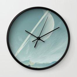 Saturn Mountain Landscape Wall Clock