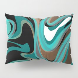 Liquify - Brown, Turquoise, Teal, Black, White Pillow Sham