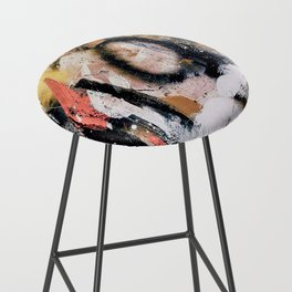 Lightning Soul: a vibrant colorful abstract acrylic, ink, and spray paint in gold, black, pink Bar Stool