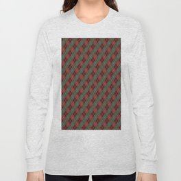 Red Green Plaid Gingham Christmas Holiday Long Sleeve T-shirt