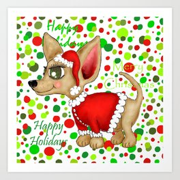 Christmas Chihuahua with dots Art Print