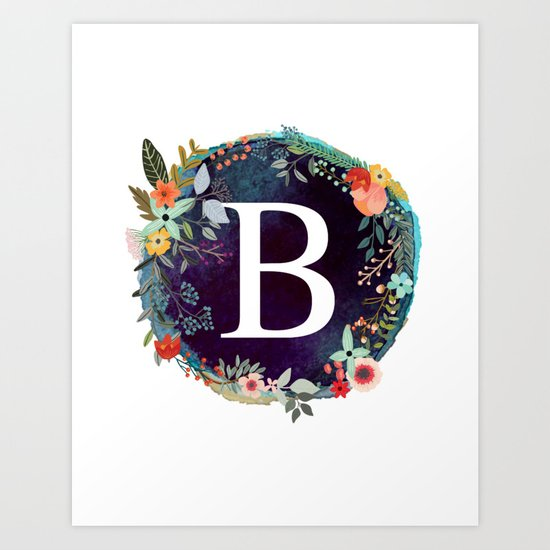 Personalized Monogram Initial Letter B Floral Wreath Artwork by aba2life