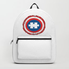 Autism Awareness Superhero Shield Autism Gift Puzzle Piece Backpack