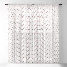 Vintage Scarlet Flowers Sheer Curtain
