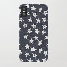 Linocut Stars - Navy & White iPhone X Slim Case