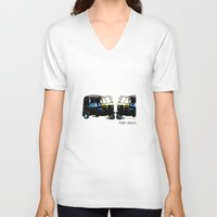 return V-neck T-shirts featuring Half Return by The Real Veda