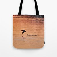 not all who wander Tote Bags featuring Wander by Nonna Originals