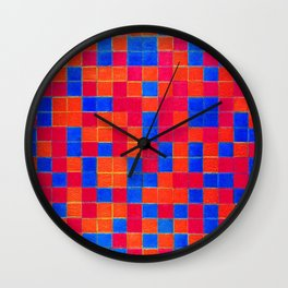 Piet Mondrian Checkerboard Grid Wall Clock