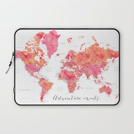 "Adventure Awaits watercolor world map in hot pink and orange, ""Tatiana"" Laptop Sleeve"
