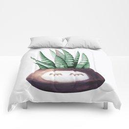 Sleepy Succulent Mint Green + Plum Comforters
