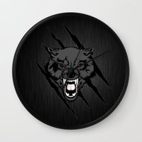 daenerys Wall Clocks featuring WOLF and ClAW by alexa