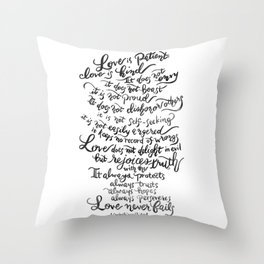 Love is Patient, Love is Kind -1 Corinthians 13:4-8 Throw Pillow