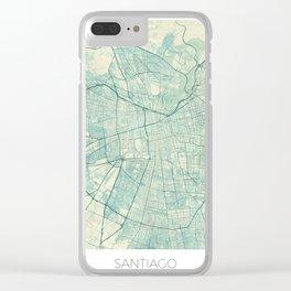 Santiago Map Blue Vintage Clear iPhone Case
