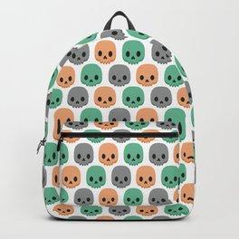 Orange, green and grey skulls Backpack