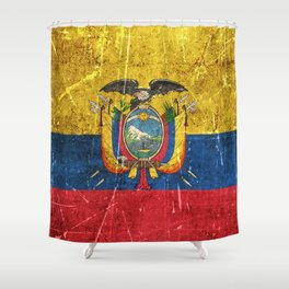 Vintage Aged and Scratched Ecuadorian Flag Shower Curtain