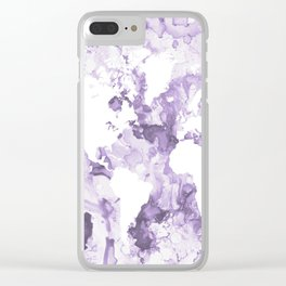 Design 109 Purple World Map Clear iPhone Case
