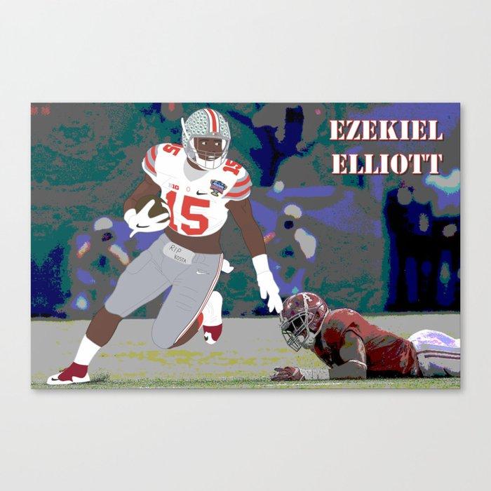 Ohio State Buckeyes Ezekiel Elliott 2015 Vector Art Canvas Print By Troyarthurgraphics