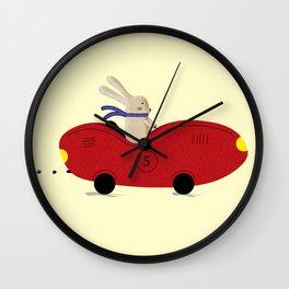 Rabbit and his car Wall Clock