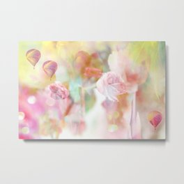 Dreamy Pastel Pink Yellow Shabby Chic Pink Tulips Metal Print