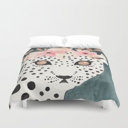 Flower Crown Leopard Duvet Cover