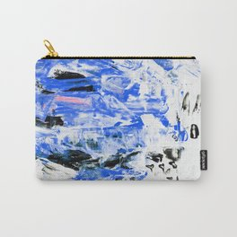 Painting, Modern Art. gradient, gouache acrylic paint in palette knife technique, abstract texture hand drawn. blue pink black white Carry-All Pouch