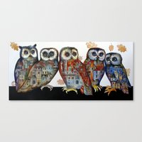 medieval Canvas Prints featuring medieval owls by oxana zaika