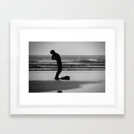 Stretching Surfer Framed Art Print