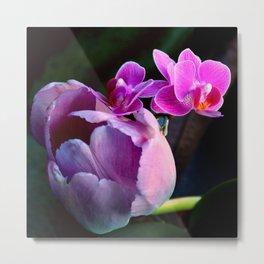 Purple Tulip With Baby Moths Metal Print