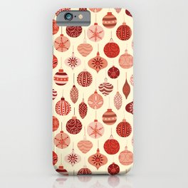 Christmas Ornaments Red Pink Beige Pattern iPhone Case