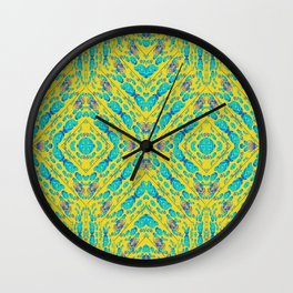 Infinities of Love Pattern in Aqua Blue and Yellow Wall Clock