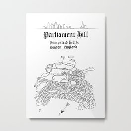 Parliament Hill Cross-Country Course Map Metal Print