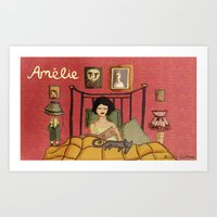 amelie Art Prints featuring Amelie by Nicola Colton illustration
