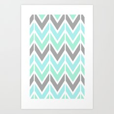 gray & blue navajo Art Print